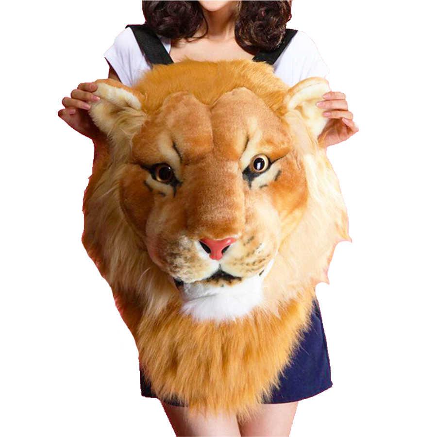 Плюшевый 3d рюкзак с головой тигра льва, женский рюкзак, студенческий Забавный школьный рюкзак, индивидуальная пара животных, женский рюкзак с пандой для путешествий