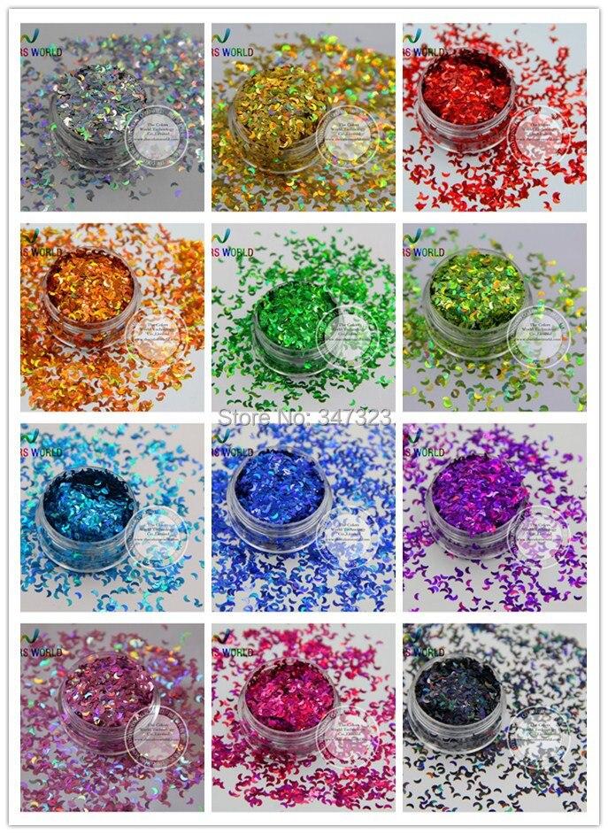 12 holográfica Lua paillette lantejoulas Forma para