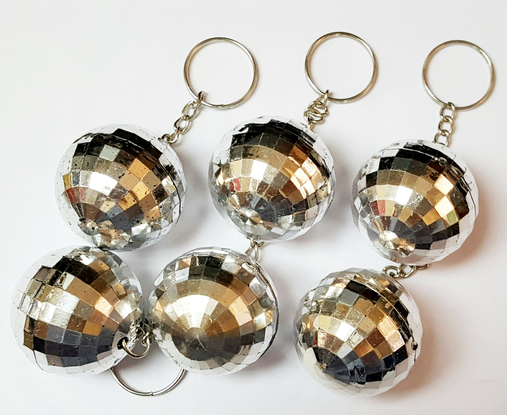 48pc Key Chain with Disco Ball Deco Rock Band Music Dancing Birthday Party Favors Shiny Fun