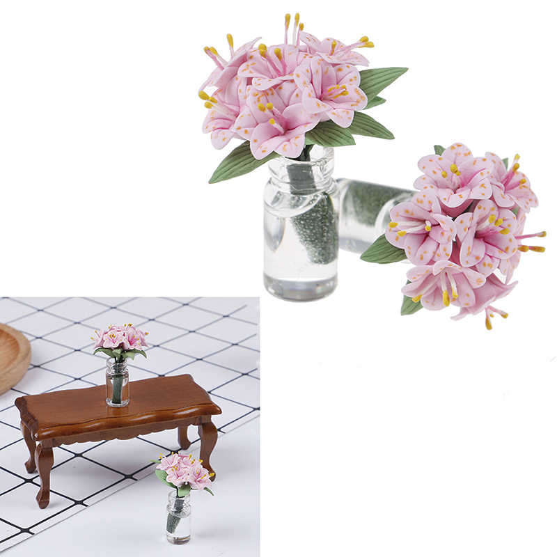 Scale 1:12 Fake Plant Flower Doll House Toy Lily Glass Bottle Flower Arrangement Dollhouse Furniture Miniatures  Accessories