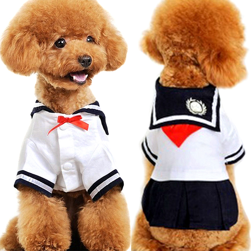Dog Dress Cat Pet Clothes Navy Style Costume Sailor Uniform Skirt Summer Puppy Clothes For Small dogs Apparel AA Замок