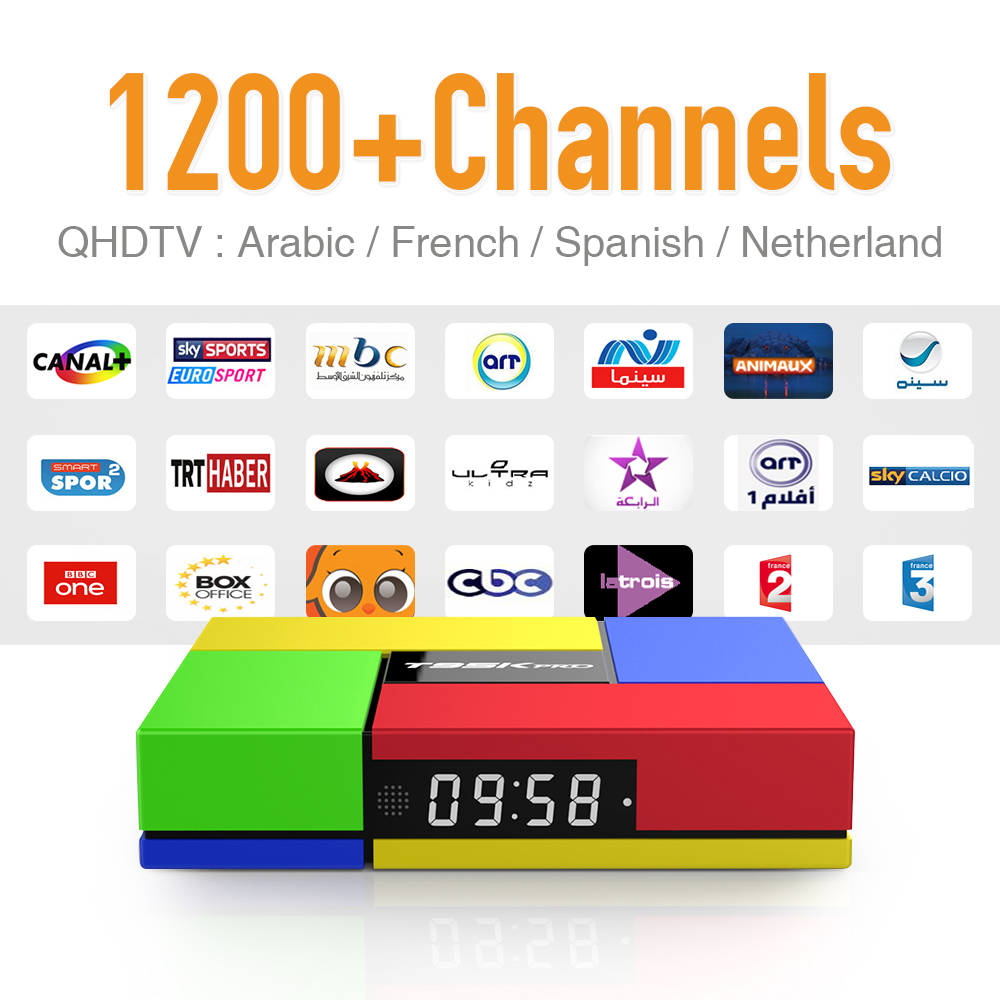 ФОТО New T95K Arabic IPTV Android Tv Box Strong wifi Bluetooth & 1200+ Europe French Spanish IPTV Channels 4k 2GB DDR3 IPTV Receiver