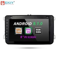 EKIY Android 8.1 8'' Car Multimedia Player GPS 2 Din Autoradio For VW Polo Passat B6 Golf 5 Skoda Octavia Seat Wifi Radio No DVD