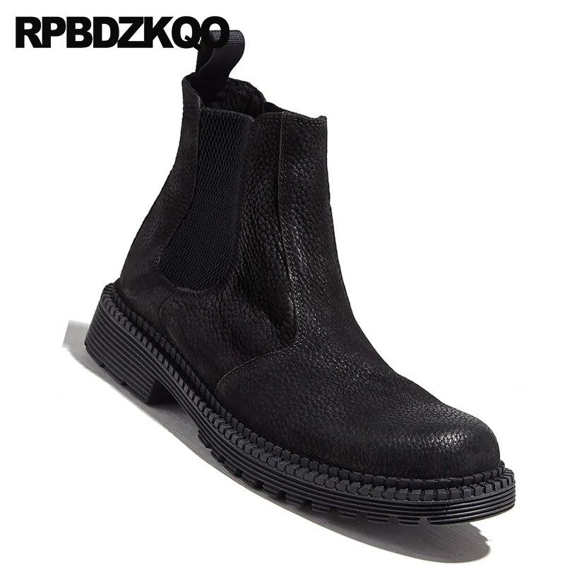 Completo Los Invierno Genuino Diseñador Hombres Zapatos Lujo Botas Tobillo On Slip Otoño Grano Chelsea Casuales Negro Piel Cuero De Real Cw00t4q