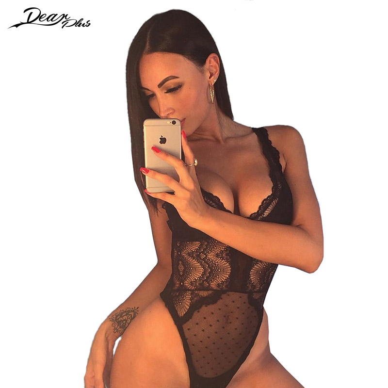 Women Lace Bodysuit Fashion V Neck Strappy SeeThrough Tight Overall Slim Casual Rompers Backless Sexy Jumpsuit combinaison