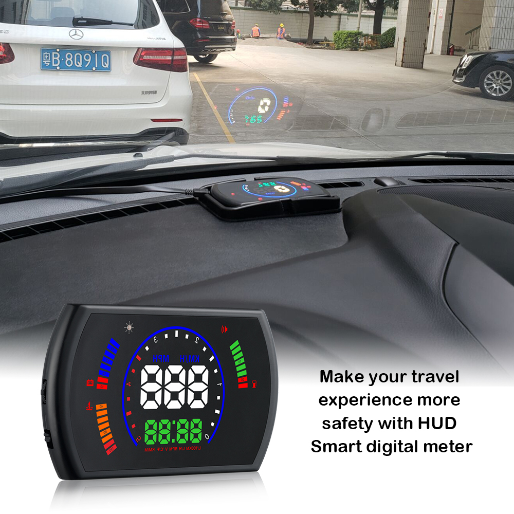 RMLKS S600 Car HUD Head Up Display Car Speed Projector Digital Speedometer OBD2 EUOBD Over-speed Warning System speed warning system c500 car hud obd2 mirror hud head up display rpm speedometer projector