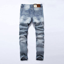 2016 New White Washed Italian Designer Men Jeans High Quality Dsel Brand Straight Fit Distressed Ripped Jeans For Jeans Men