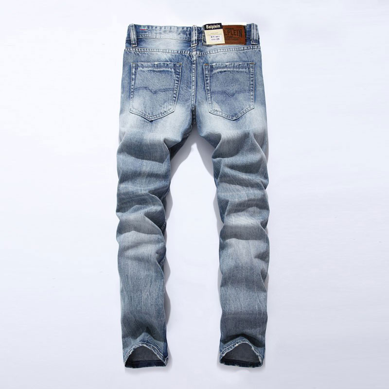 2019 New White Washed Italian Designer Men Jeans High Quality Balplein Brand Straight Fit Distressed Ripped Jeans For Jeans Men