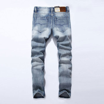 2019 New White Washed Italian Designer Men Jeans High Quality Balplein Brand Straight Fit Distressed Ripped Jeans For Jeans Men 2017 new designer men jeans dsel brand jeans men high quality dark color retro ripped jeans for men distressed jeans denim pants
