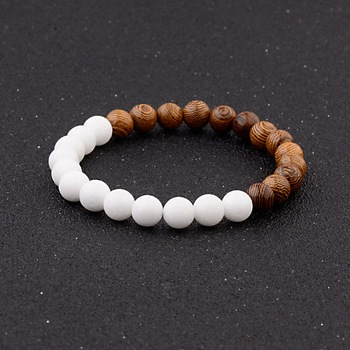 Elastic Natural Wood Beads Bracelet Bracelets Jewelry New Arrivals Women Jewelry Metal Color: 005-A1