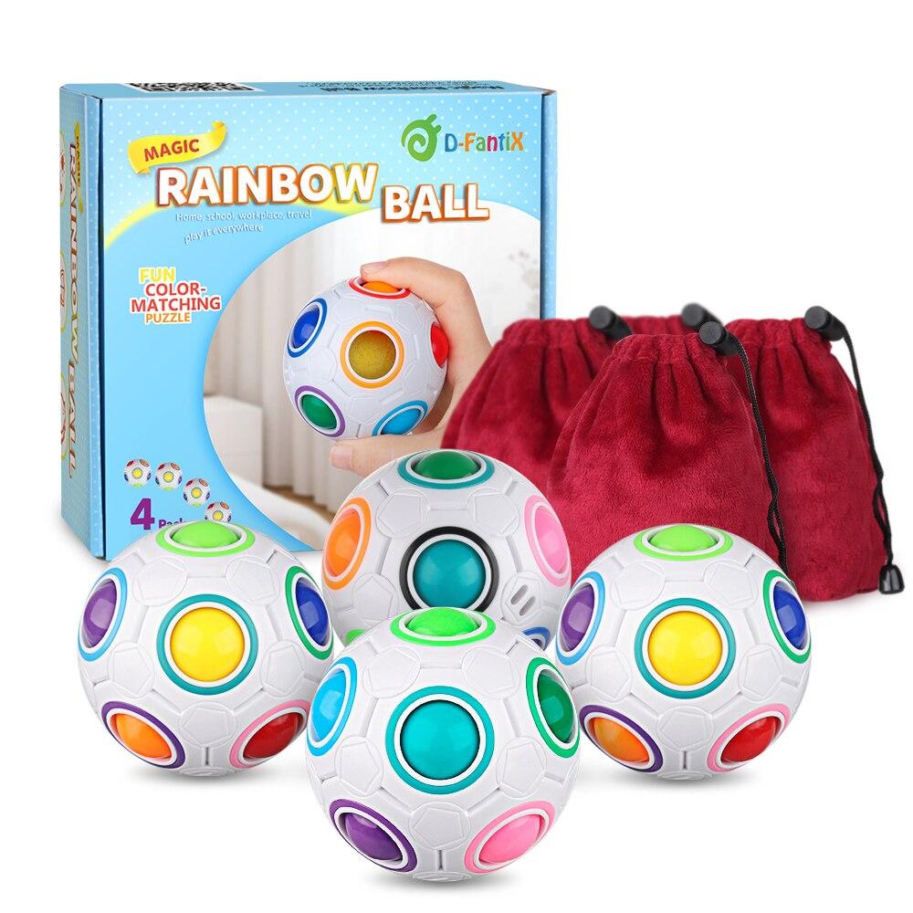 D FantiX Rainbow Puzzle Ball 4 Pack 3D Rainbow Magic Ball Fidget Ball Puzzle Brain Teaser Fidget Toys for Adult Kids White