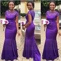 Sirena Púrpura Vestido de Dama de honor Con la Manga Del Casquillo Formal Largo Del Vestido de Boda Vestido de Fiesta 2017