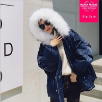 2018 Winter Korean version Fashion wire satin bright warm parkas fake fur collar overalls cotton coat women thicker coat L1036