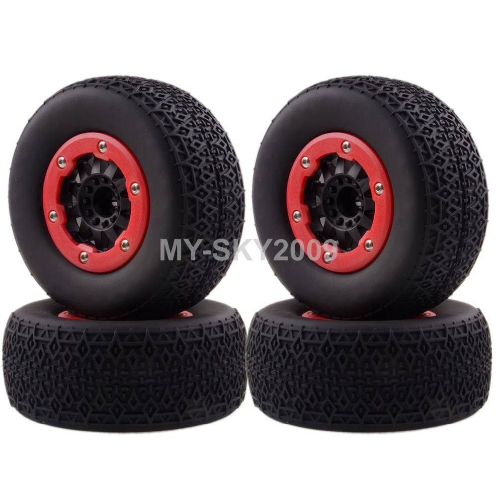 4pcs Wheel Rims & Tyres, Tires 1182-15 For 1/10 RC Off-Road Truck Traxxas Slash 4x4 Pro-Line Racing 4pcs rc crawler truck 1 9 inch rubber tires