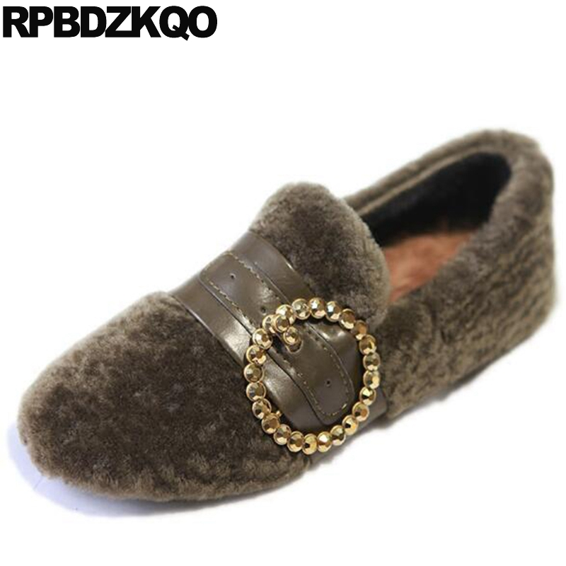 Walking Round Toe Metal Loafers Chinese Maternity Flats Rivet Stud Green Designer Shoes China Fur Women European Spring Autumn new 2016 european brand designer winter warm flats black leather rabbit fur loafers metal decorated hot sell flat shoes women