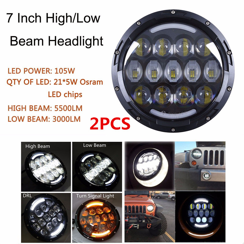 2 PCS For Jeep Wrangler JK LandRover defender headlight High/Low Dual Beam Black Round 105W LED Projector Headlamp 7 Inch new arrival high strength solid steel black grab bar front grab handles for jeep wrangler jk 2