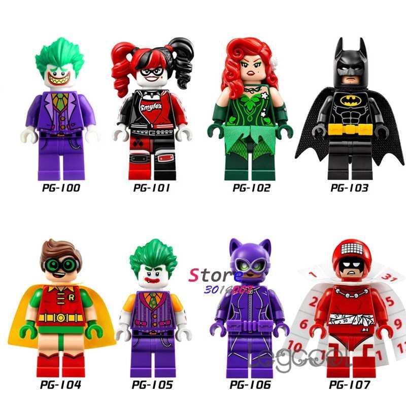 1 pçs modelo de blocos de construção figuras super-herói coringa harley quinn veneno ivy batman robin coringa catwoman dc brinquedos para crianças presente