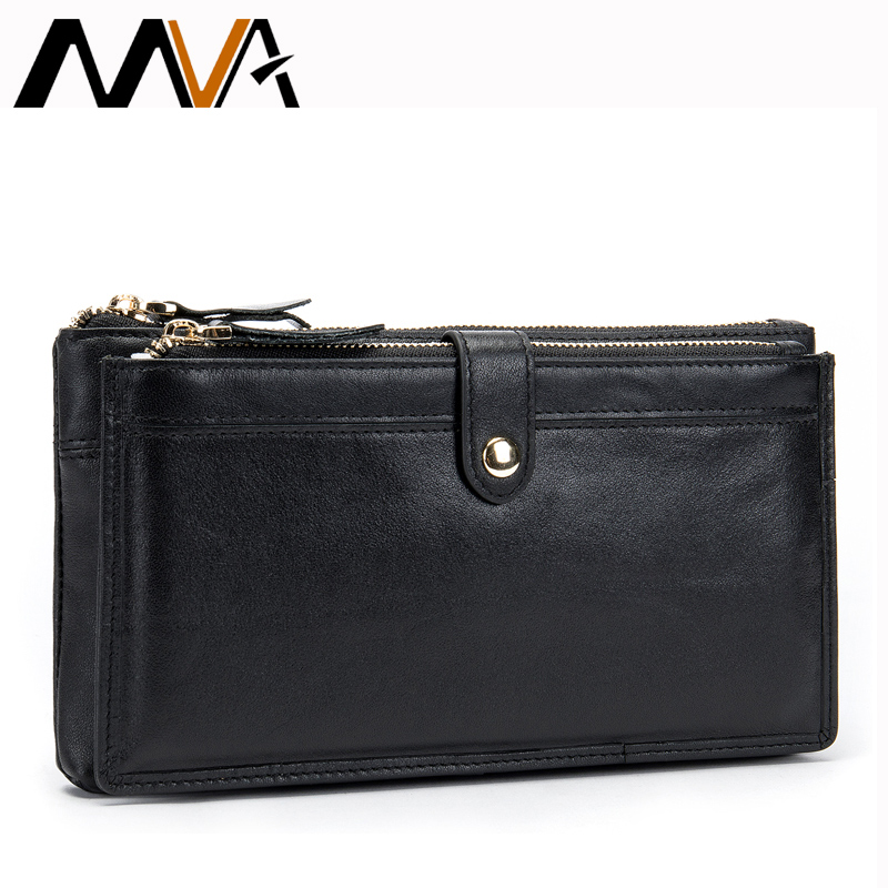 MVA Black Wallet for Card Men's Wallet Genuine Leather Double Zipper Wallet with Coin Pocket Phone/Moeny Bag Slim Wallets Long