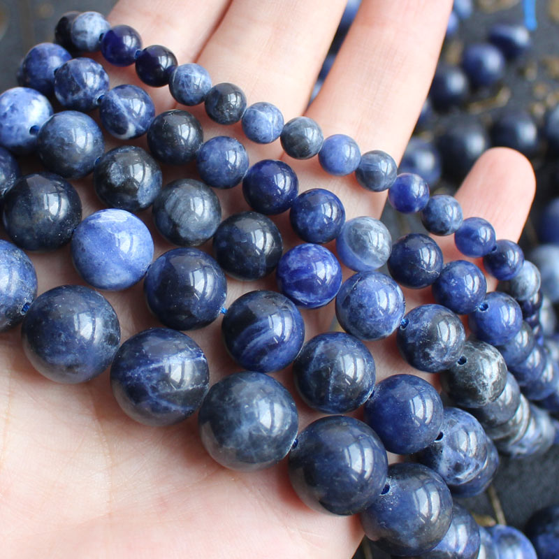 Natural Smooth Sodalite Stone 4 20mm Round Beads 15 BeadsFor DIY font b Jewelry b font