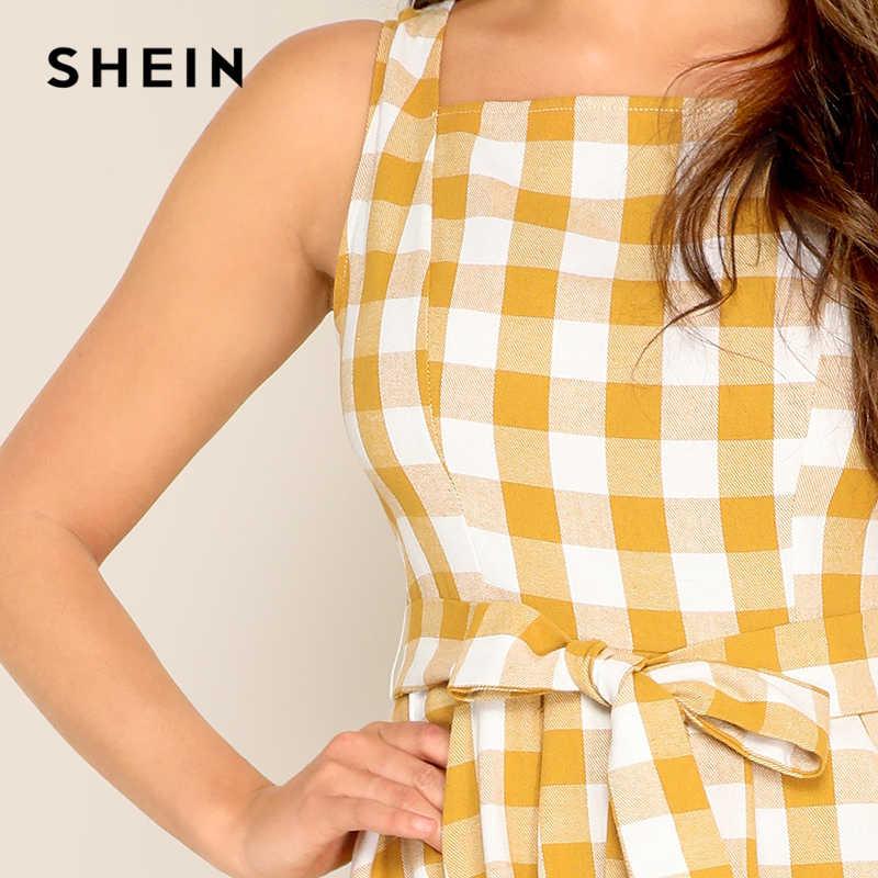 SHEIN Платье В Клетку С Квадратным Вырезом И Поясом Женское Желтое Летнее Повседневное Платье