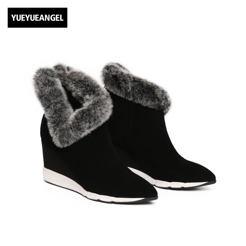 Lovely Fur Trim Elegant Ladies Snow Boots Retro Pointed Toe Wedges Winter Warm Ankle Boots Top Brand Genuine Leather Women Shoes