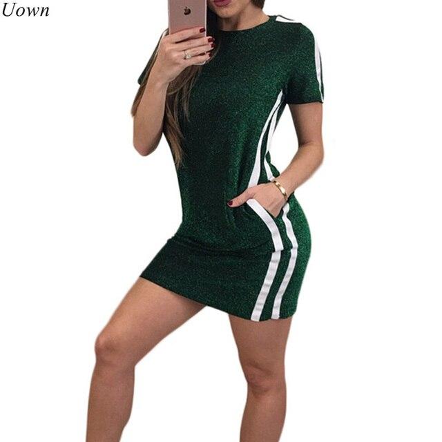 24a7bd5ee8087d Vrouwen Glitter Mini T-shirt Jurk met Zakken Gestreepte Casual Korte Mouw  O-hals