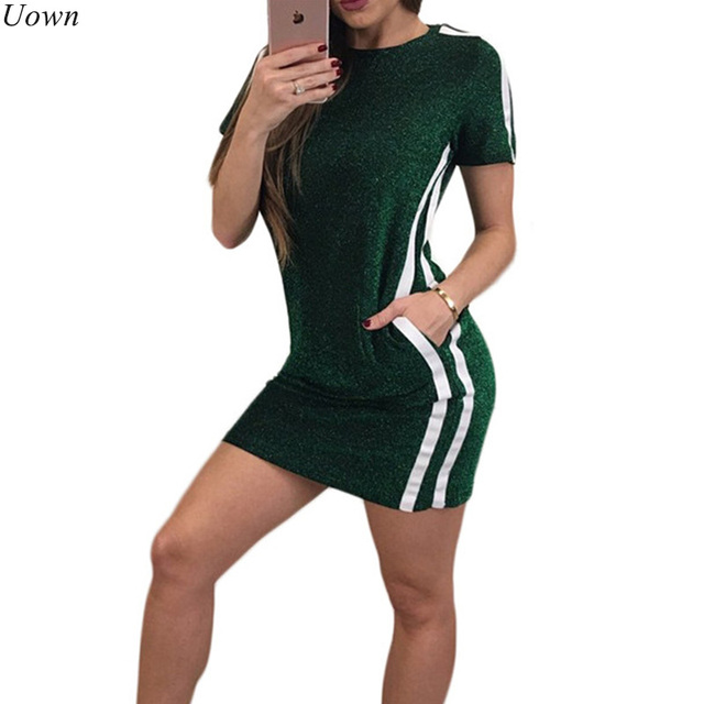 969638995293 Women Glitter Mini T-shirt Dress with Pockets Striped Casual Short Sleeve  O-Neck Sexy Sparkly Bodycon Party Dresses Vestido
