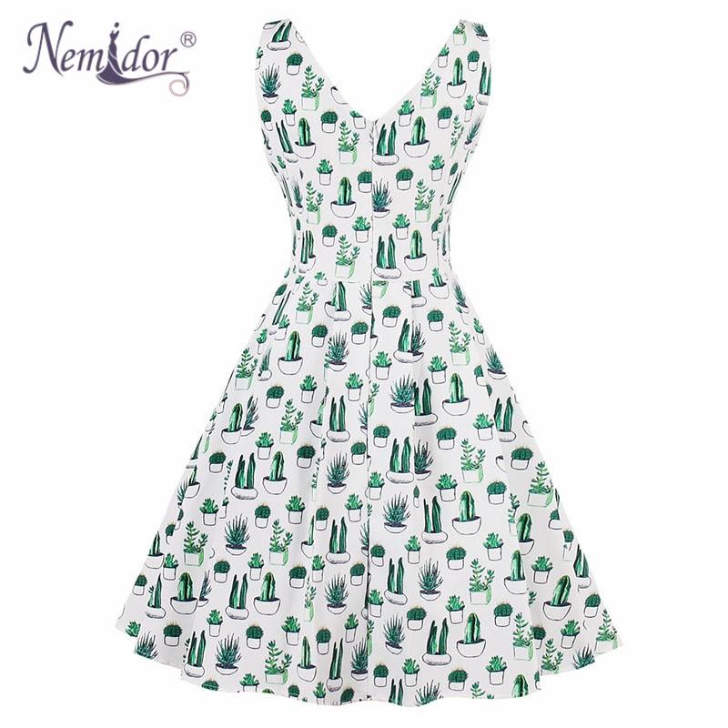 Nemidor Hot Sales Women 1950 Vintage Elegant V neck Plus Size A line Dress  Print Sleeveless Rockabilly Swing Party Dress-in Dresses from Women s  Clothing on ... 193690760ed2