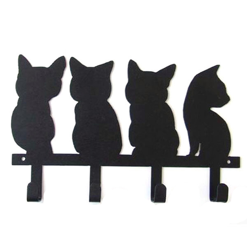 Cute Cat Design Animal Coat Hooks Metal Hook Bathroom