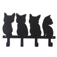 Metal Cute Cat Design Animal Coat Hooks Bathroom Accessories Wall Door Clothes Coat Hat Key Hanging Wall Hanger