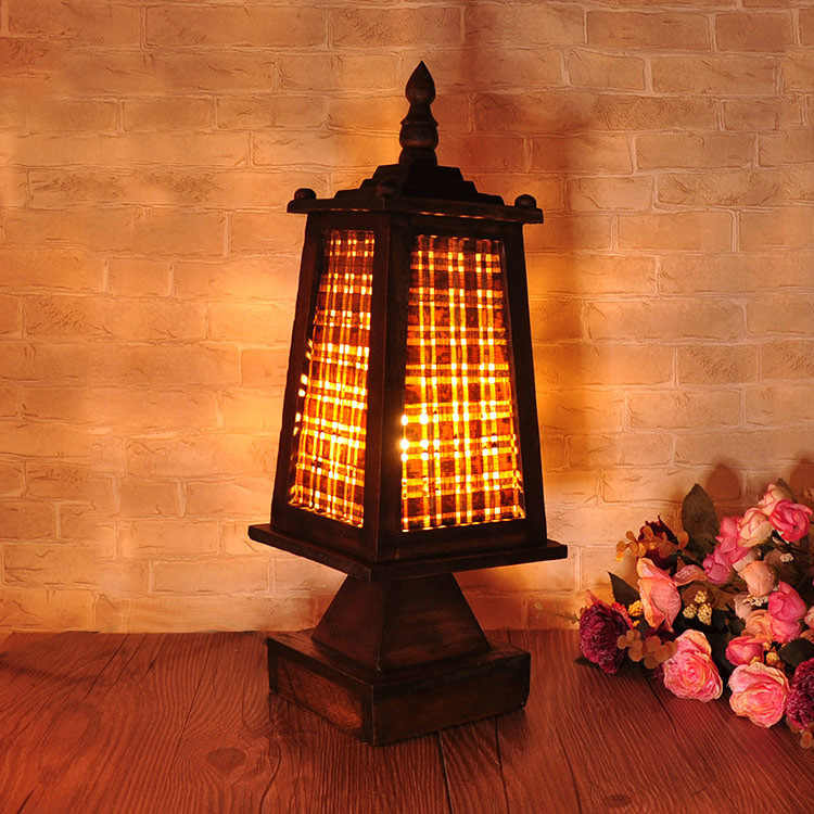 Тайская прочная деревянная бамбуковая гостиничная лампа креативная Ретро простая настольная лампа с деревянным основанием прикроватное освещение в спальне
