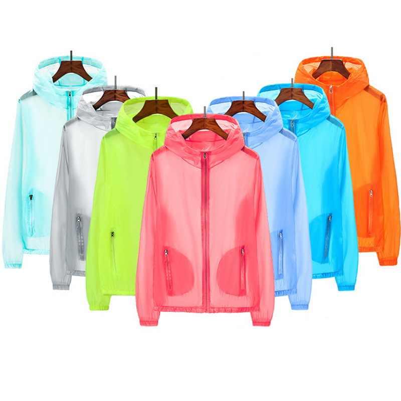 HEFLASHOR 2019 חדש אמיתי UV בגדי הגנה מפני שמש שקוף ארוך שרוול חולצת קיץ החוף ללבוש קרם הגנה אנטי Uv מעילים