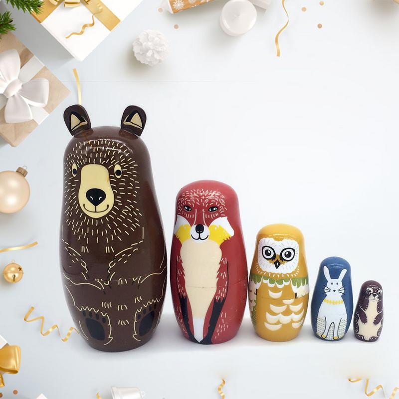 5 Stücke Braun Bär Nesting Dolls Holz Tier Handwerk Geschenk Wishing Puppe Geburtstag Weihnachten Geschenk Box Lagerung Box Der Preis Bleibt Stabil