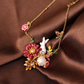 Les Nereides Lovely Rabbit Gem Flower Necklace For Women Elegant Cute Sweet Party Prom Jewelry Good Gift