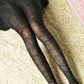 Atractiva de las mujeres panti moda retro medias collant raya clásica flor de encaje para adelgazar Medias del Pantyhose femenino femme