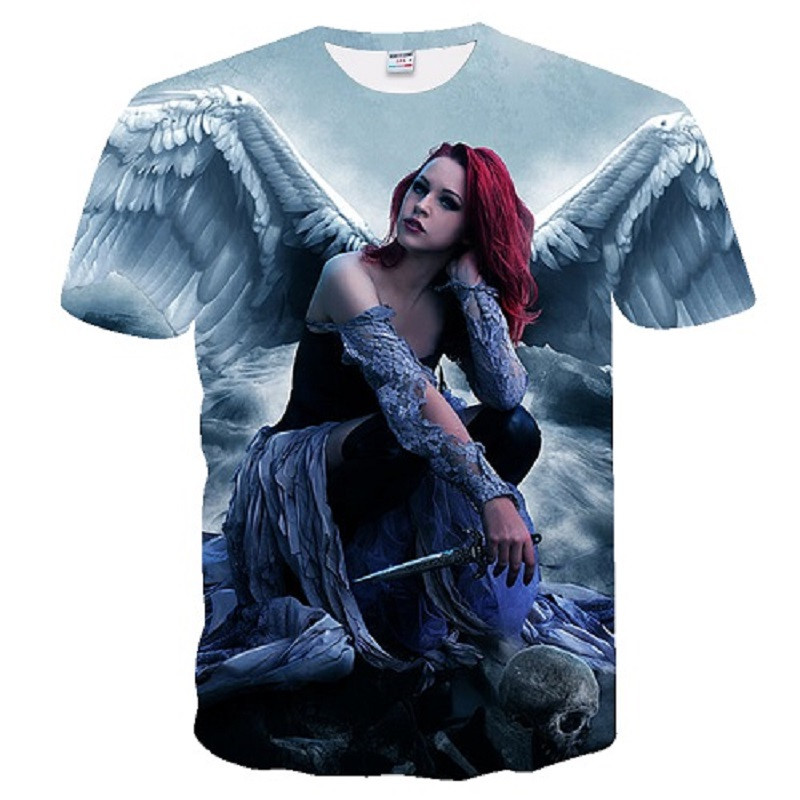 2018 New t shirt men Fashion Brand T-shirt Men/Women Summer 3d Print angel T shirt Tops Tees hot men t shirt European size S-4X