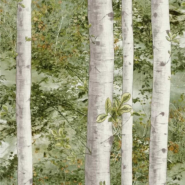 0 53x10m Forest Birch Tree Wallpaper For Walls 3 D Green Blue Gray Branches Of Tropical