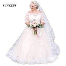 Sunzeus Plus Size Lace Wedding Dresses A-Line Boat Neck