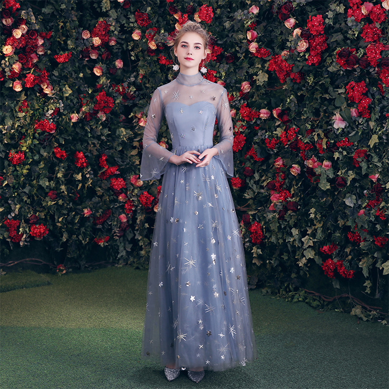 Blue Chinese Oriental Wedding Female Full Length Cheongsam Vintage Evening Dress Elegant Celebrity Banquet Dresses Oversize 3XL