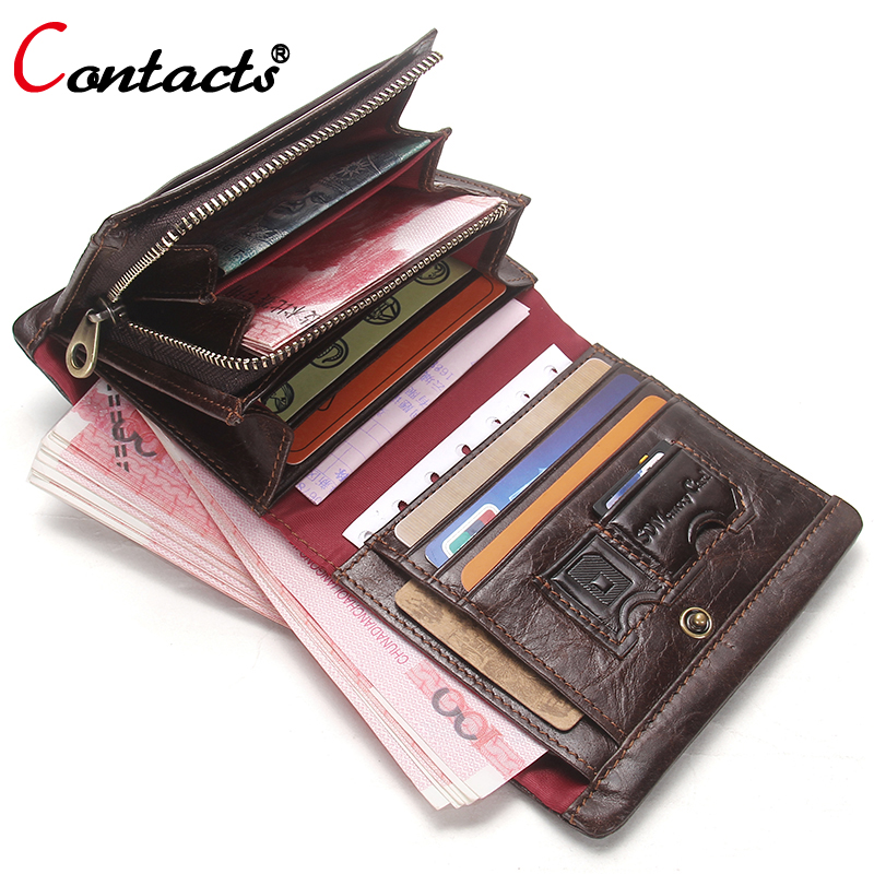 CONTACT'S Men wallet Genuine Leather Wallet Men coin Purse Short Business Credit Card Holder Male Clutch Bag Money Men's walet document for passport badge credit business card holder fashion men wallet male purse coin perse walet cuzdan vallet money bag