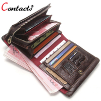 CONTACT S Small Genuine Leather Wallet Men Purse Short Business Credit Card Holder Coin Male Clutch