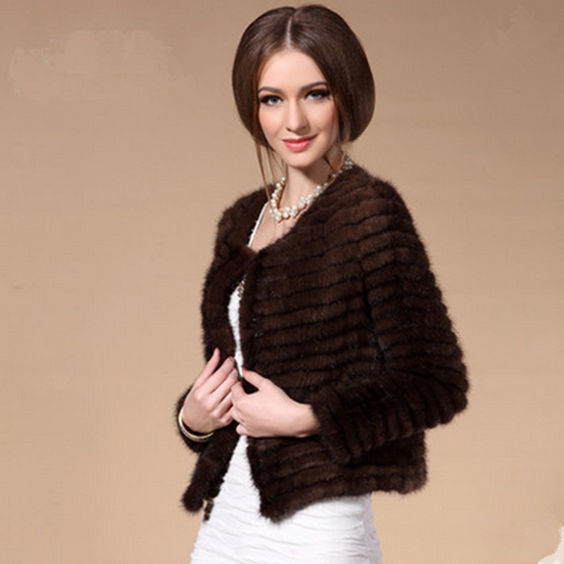 ZDFURS *Sexy Women Autumn And Winter Female Real Knitted Real Mink With Striped Cut Fur  Natural Fur Short Coat Jacket