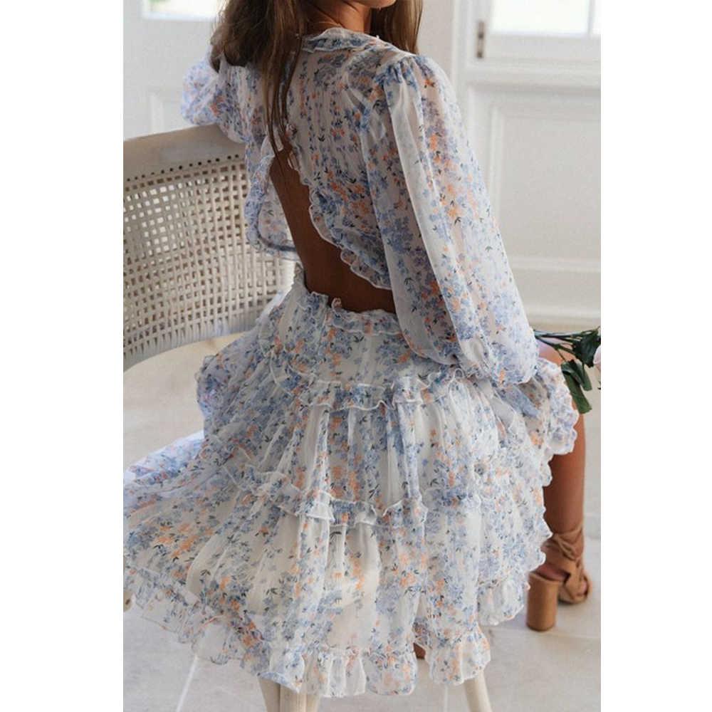 Tosheiny 2019 נשים קיץ סקסי עמוק V ארוך שרוול הדפסת שמלות בוהמי ללא משענת אלגנטית ראפלס קיץ חוף שמלות DM0011