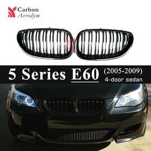 Gloss Black Double Slats Kidney Grille For BMW 5 Series E60 Sedan E61 Estate 2005-2009