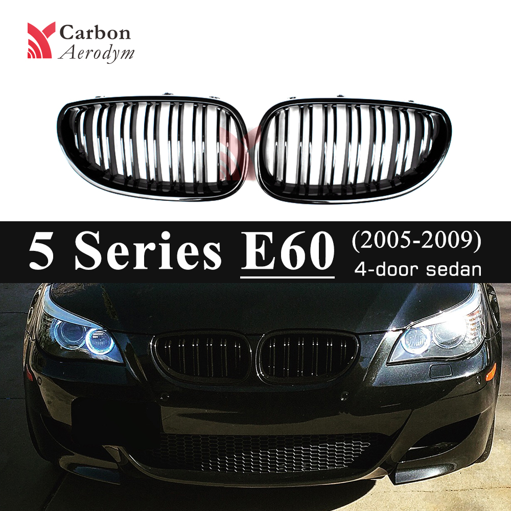 Gloss Black Double Slats Kidney Grille For BMW 5 Series E60 Sedan E61 Estate 2005 2009