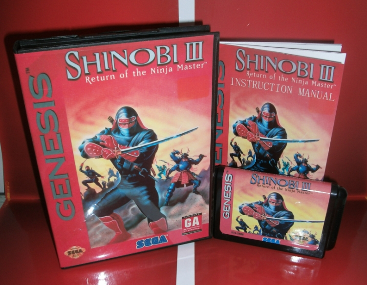Sega games card - Shinobi 3 - Return of the Ninja Maste with Box and Manual for Sega MegaDrive Video Game Console 16 bit MD card