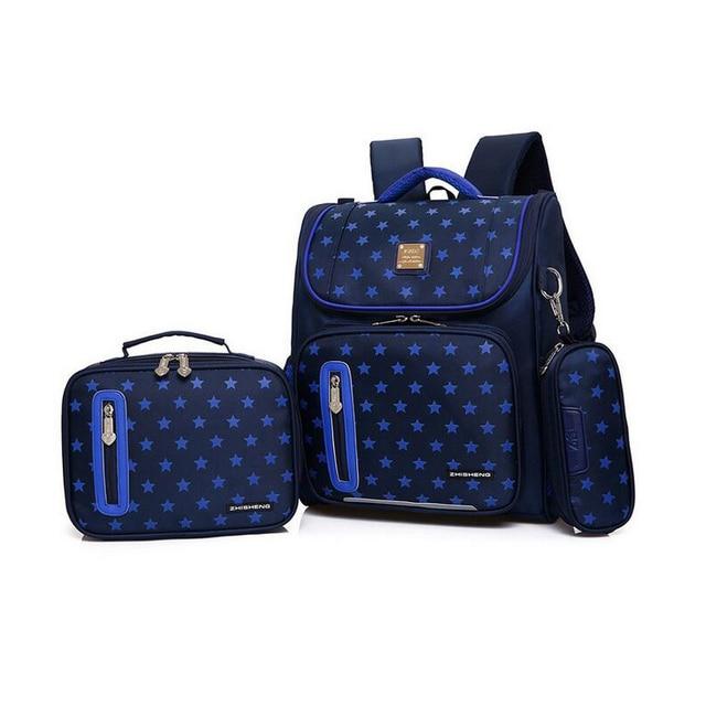 fashion new design children backpack Breathable Alleviate Burden school bags 3 set canvas star printing Orthopedic Backpacks