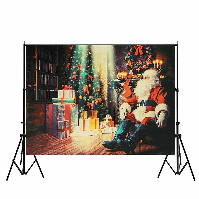 7x5ft Vinyl Christmas Santa Photography Backdrop Tree Gifts Studio Photo Props Photographic Background 210X150cm Waterproof new arrival 3x5ft vinyl background studio photography photo props christmas tree backdrop