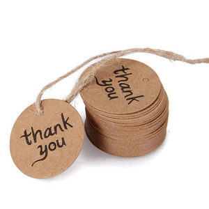 100pcs Round Kraft Gift Tag Blank Garment Tags Thank You Handmade Paper Label Wedding Party Paper Tag Price Label Hang Tag