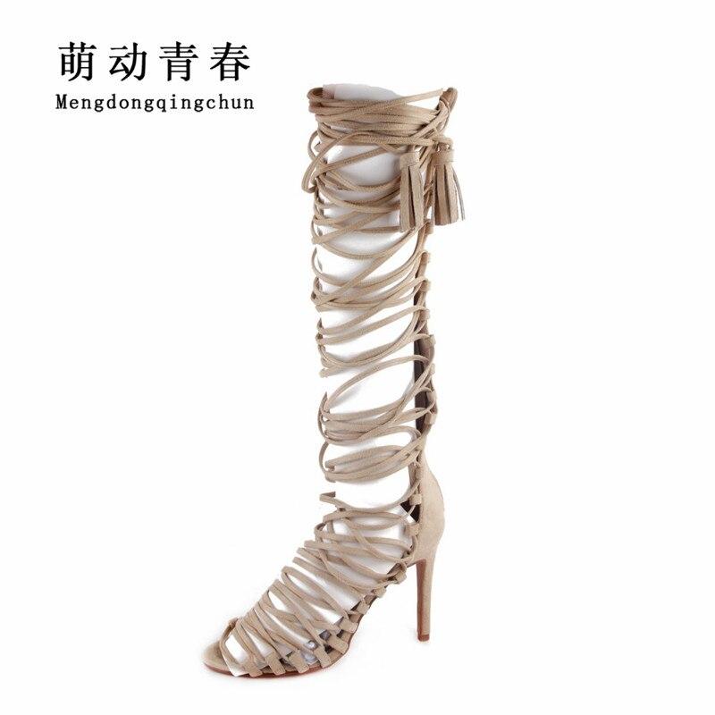 Women High Heels Pumps 2018 Gladiator Peep Toe Thin Heels Sandals Fashion Cross Tied Lace Up Knee High Summer Pumps Zapatos цена